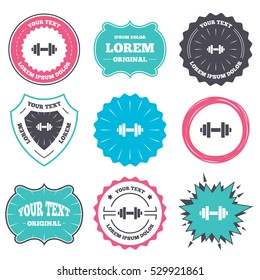 Label and badge templates. Dumbbell sign icon. Fitness symbol. Retro style banners, emblems. Vector