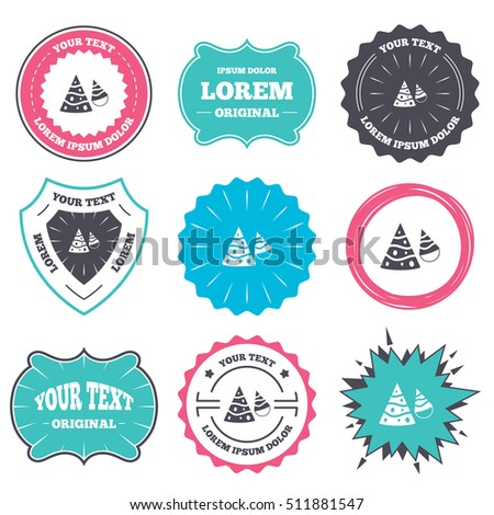 label badge templates party hat sign stock vector royalty free
