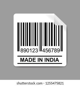 Label with Barcode and text-made in india,stock vector illustration.