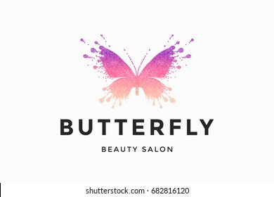 Label of beauty salon with colorful red-pink butterfly and text Butterfly. Emblem template for branding, design elements. Sign, label, identity, badge for business brand. Vector Illustration
