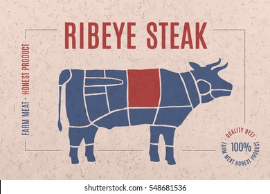 Label for beef steak meat with text Ribeye Steak. Creative graphic design for butcher shop, farmer market. Advertising poster for meat related theme. Vector Illustration