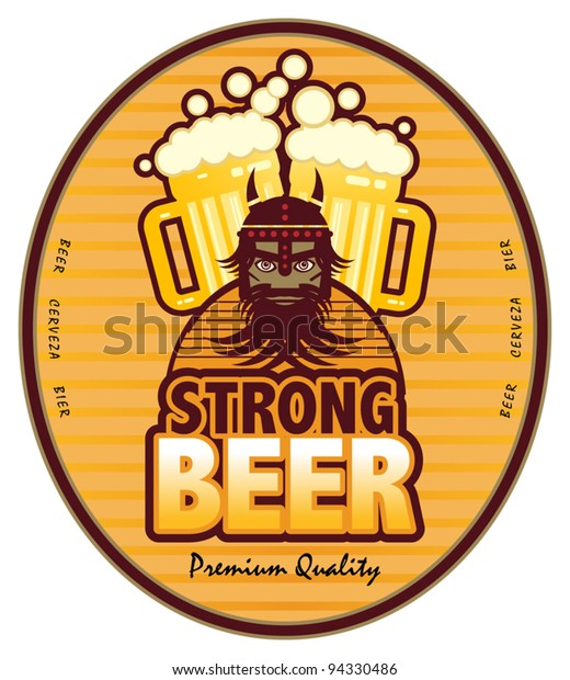Label with beer mugs and the text Strong Beer written inside, vector illustration