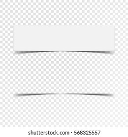 Label of blank paper banner with realistic shadow on white squared background.