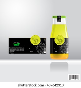 Label and bottle design for drink, juice. suitable use for beverage industries. vector file