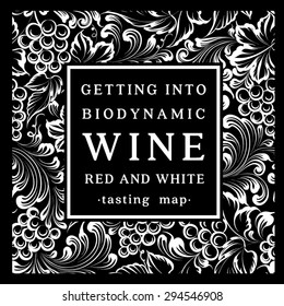 Label for a bottle of wine with bunch of grapes. Vector illustration.
