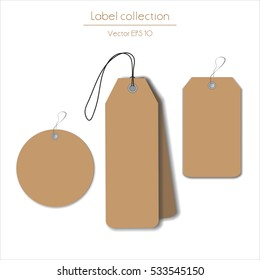 Label cardboard hanging tag collection illustration on white background