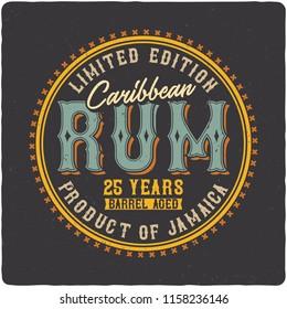 Label of the Caribbean rum. On dark background