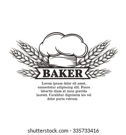 label chef with toque and spikelets of wheat for restaurant, cafe and menu design