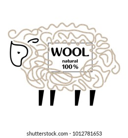 Label with cute sheep and wool threads. Vector image. Design for firms engaged in the production of goods and of yarn wool.