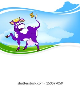 Label dairy products.A purple cheerful cow on the green field