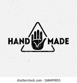 Label design template with hands and triangle for handmade products in grunge style. Vector illustration.