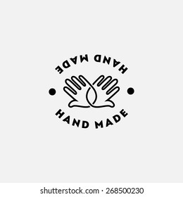 Label design template with two hands for handmade products in outline style. Vector illustration.