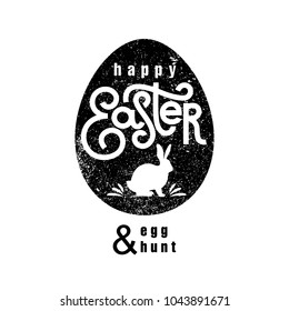 """Label easter egg with inscription """"Happy Easter and Egg Hunt"""" and silhouette of Easter Bunny. Black logo on white background. Emblem, signs of religious holiday. Vector illustration for web and print."""