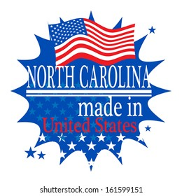 Label with flag and text Made in North Carolina, vector illustration