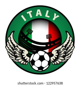 Label with football and name Italy, vector illustration