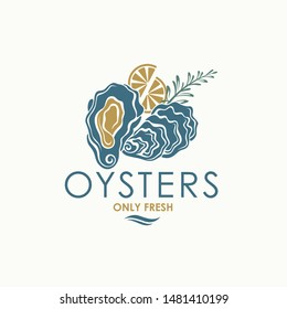 label of fresh oyster shell and lemon isolated on light background