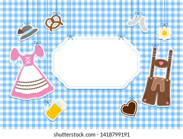 Label Hanging Oktoberfest Icons Check Pattern Background