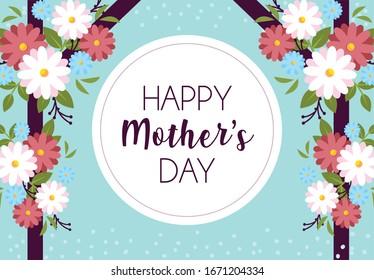label happy mothers day and flower frame vector illustration design