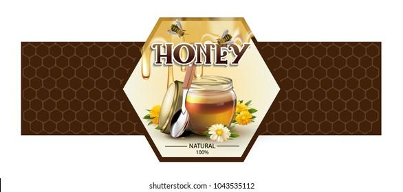 label for honey on white background