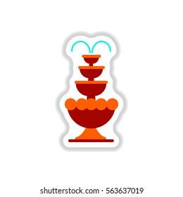 Label icon on design sticker collection fountain