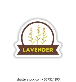 Label icon on design sticker collection kitchenware seasoning lavender with ribbon