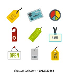 Label icon set. Flat set of label vector icons for web design isolated on white background