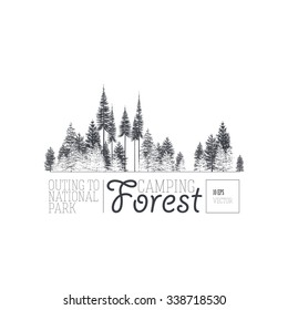 label with a image of a coniferous forest