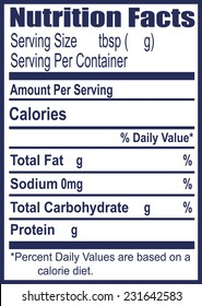 The label for information on nutritional value. Vector illustration.
