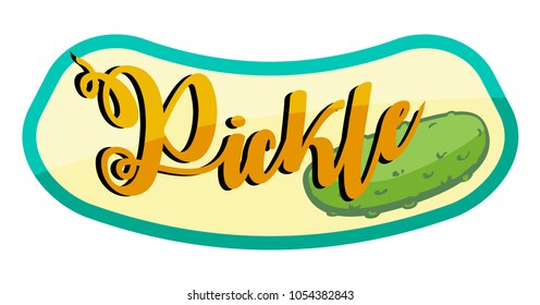 Label for a jar of pickles in cartoon style, vector image.