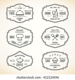 Label and logo set for restaurant menu design. Food and drinks logotype symbol design.