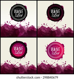 Label or logo for wine list. Modern and classical typography. Background wine stains. vector