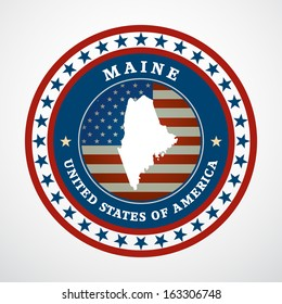 Label with map of Maine, vector