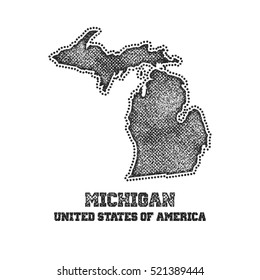 Label with map of michigan. Vector illustration.