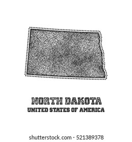 Label with map of north dakota. Vector illustration.