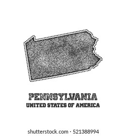 Label with map of pennsylvania. Vector illustration.