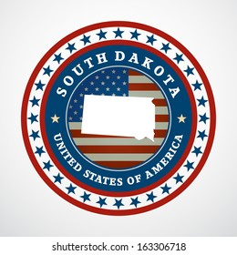 Label with map of South Dakota, vector
