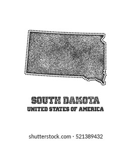 Label with map of south dakota. Vector illustration.