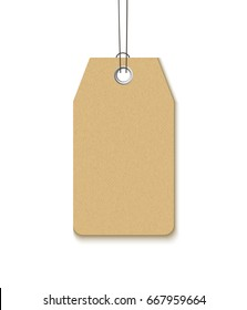 Label with a metal grommet isolated on white background. Realistic vector template blank craft paper label for sale and promo design