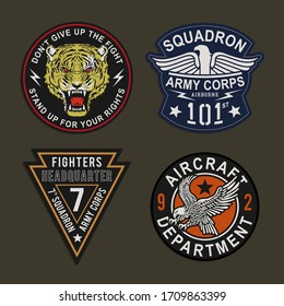 Label of military typography, tee shirt graphics, vectors