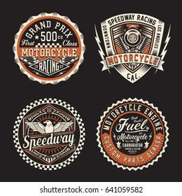 Label of Motorcycle racing typography, tee shirt graphics, vectors