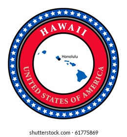 Label with name and map of Hawaii, vector illustration
