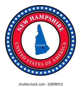 Label with name and map of New Hampshire, vector illustration