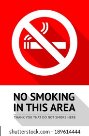 Label No smoking sticker, flat vector illustration