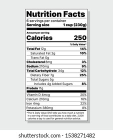 Label Nutrition facts. Vector. Food information with daily value. Package template. Data table ingredients calorie, fat, sugar, cholesterol. Standard vertical design isolated on gray background