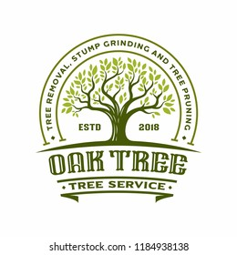 label Oak tree Silhouette, Vector logo design