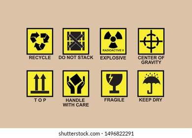 LABEL ON CARD PACKAGING BOX, vector icon set,Recycle, do not stack, explosive, center of Gravity, top, handle with care, Fragile, Keep Dry , box icon, cardboard, vector, symbol, stick