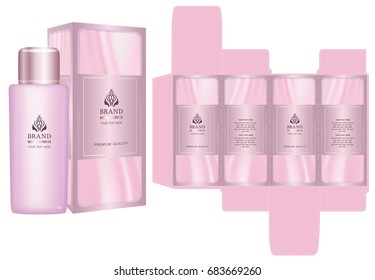 Label on packaging container with luxury box design template and mockup box. Pink set. Illustration vector