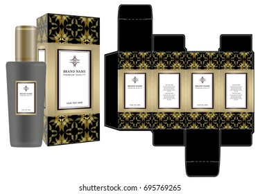 Label on packaging container with luxury box design template and mockup box. Illustration vector