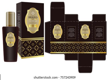 Label on packaging container with luxury box design template and mockup box. illustration vector.