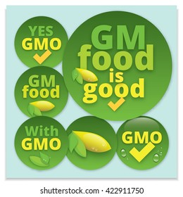 Label on the products with genetically modified components. GM products icon design. Yes GMO symbol design. Genetically Modified Organism sign with yellow fruit and green leaves icon.